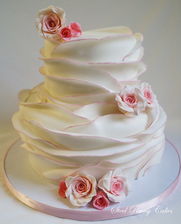 Pink fondant wrapped layers - My favorite design to do! This time I did  pink tipped edges.