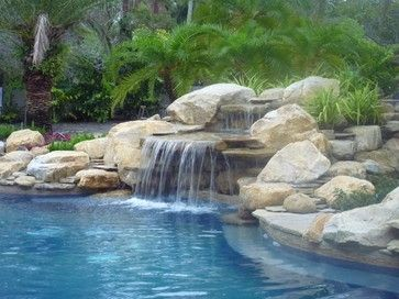 Pool Waterfalls, Rock waterfall with cave effect - contemporary - pool - miami - Waterfalls Fountains & Gardens