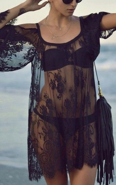 Black Floral Irregular Lace Blouse