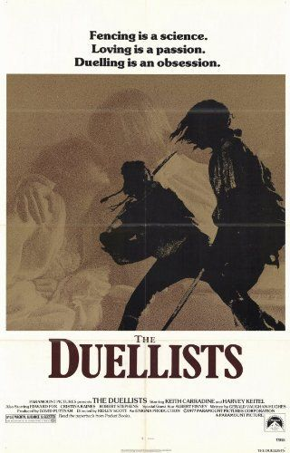 THE DUELLISTS (1977)  Directed by Ridley Scott.  With Keith Carradine, Harvey Keitel, Albert Finney, Edward Fox. Set during the grand, sweeping Napoleonic age, an officer in the French army insults another officer and sets off a life-long enmity. The two officers, D'Hubert and Feraud, cross swords time and time again in an attempt to achieve justice and preserve their honor.