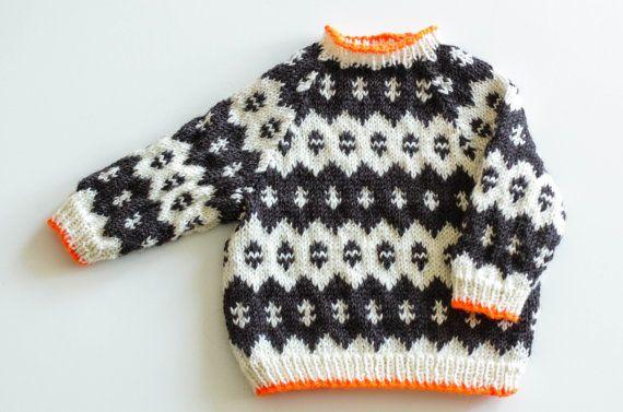 Brown, cream, orange. Icelandic baby knit sweater by thebirdyandthebear on Etsy