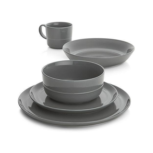 Set of 4 Hue Dark Grey Dinner Plates | Crate and Barrel