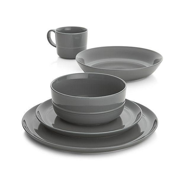 Set of 4 Hue Dark Grey Salad Plates | Crate and Barrel