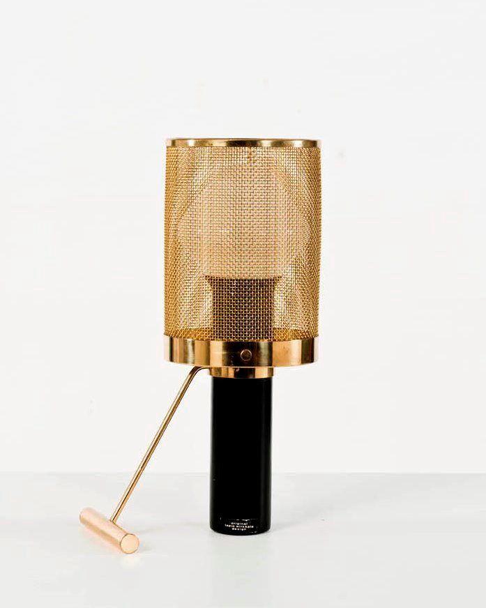 Tapio Wirkkala; #K11-81 Brass and Enameled Metal Table Lamp for Idman Oy, ca. 1950.