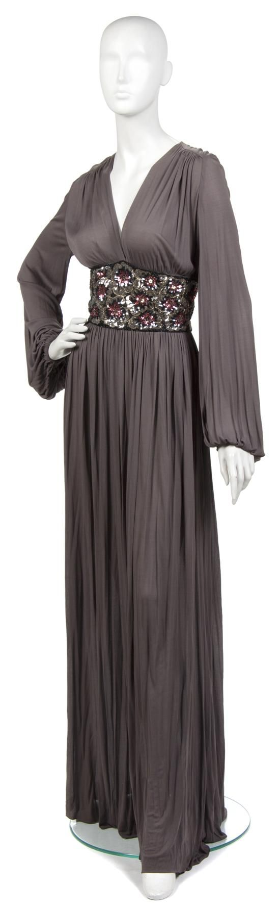 Miss Dior Grey Jersey Evening Gown,  1970s