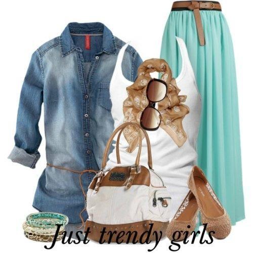 casual mint maxi skirt - Casual hijab summer wear http://www.justtrendygirls.com/casual-hijab-summer-wear/