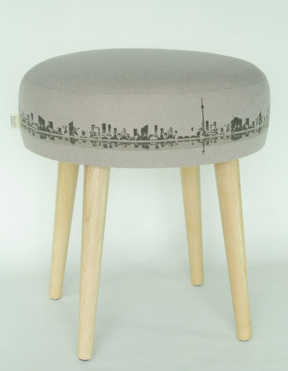 Toronto skyline ottoman footstool stool bench furniture silk screen by FoutuTissu on Etsy - as seen at the One of a Kind show 2014 OOAK