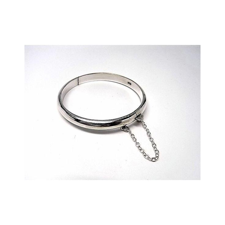 Pulsera de plata de primera ley lisa estilo brazalete de media caña de 5 mm de ancho para niña de 5 cm de diámetro