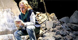 """Megan Dodds in """"My Name is Rachel Corrie"""", Royal Court, London 2005 co-edited and directed (the first production) by Alan Rickman. """"Megan Dodds captures Rachel Corrie's rage against injustice, her boundless curiosity and her nomadic spirit"""". quote by Michael Billington Photo: Tristram Kenton"""