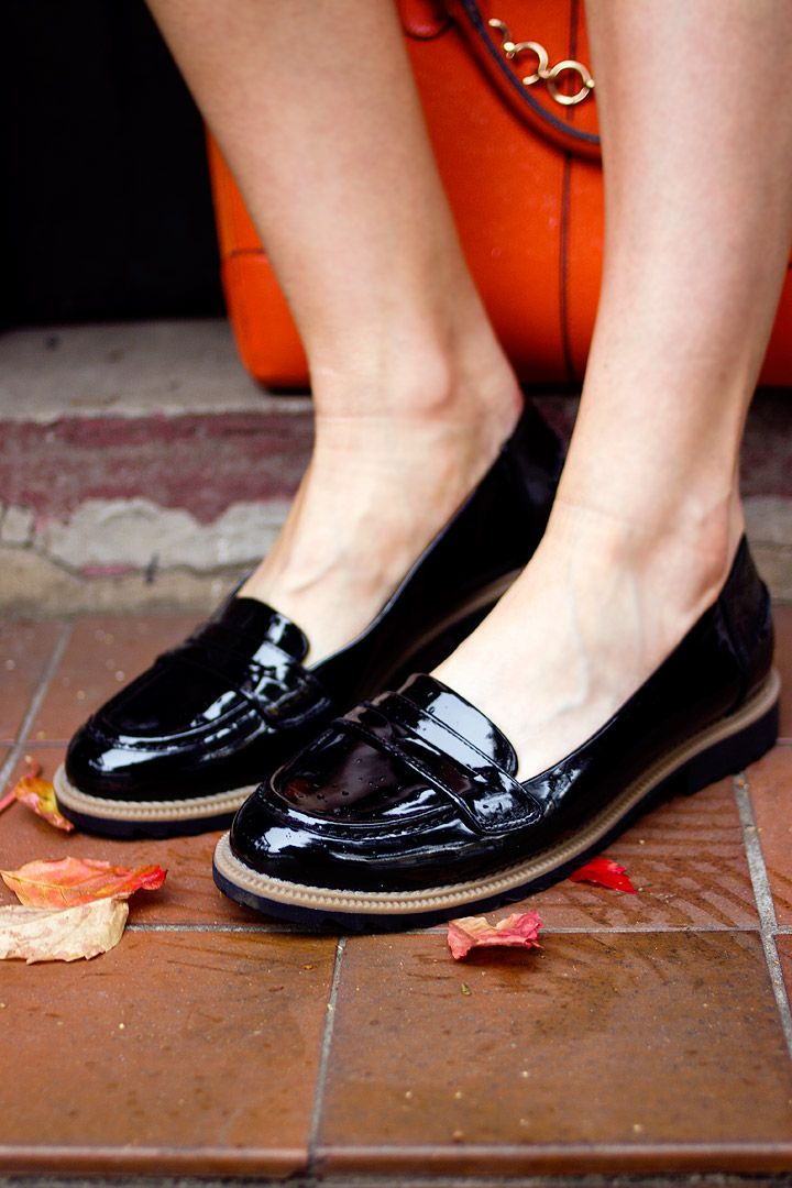 clarks black patent loafers