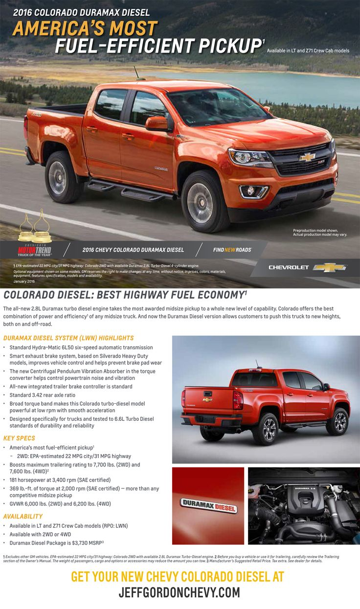 2016 chevrolet colorado duramax diesel america s most fuel efficient pickup get yours at