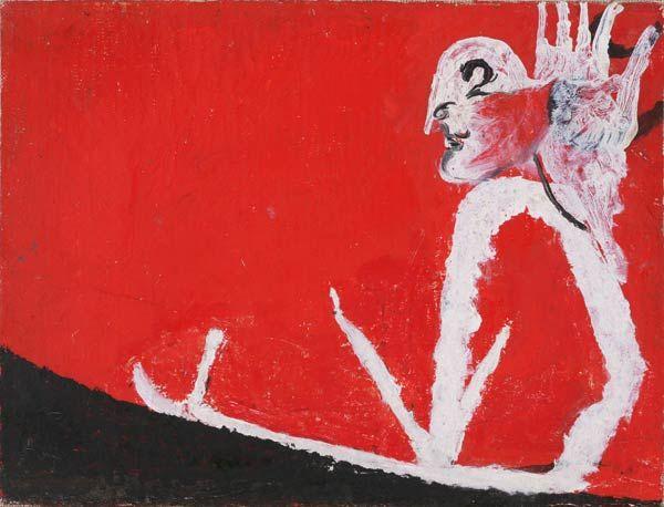 Osvaldo Licini, Testa, mano e serpente, 1949, olio su tela, cm 21 x 27.5, Collezione privata.