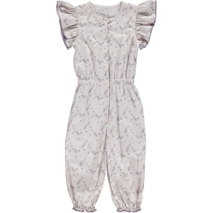 Okker-Gokker organic GOTS certified, made in India, 100% organic cotton.  Pale mauve suit with whimsical blue & mauve bird & star print, round neckline, elasticised wait, press studs on chest & inner leg, elasticised sleeve & ankle with mauve cotton lace trim. $69.95 http://www.danskkids.com.au/collections/spring-summer-2015/products/okker-gokker-pale-mauve-with-bird-print-suit