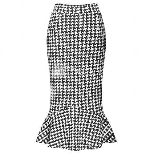 De las mujeres Faldas - Midi Casual Microelástico - Algodón / Poliéster - USD $16.99                                                                                                                                                                                 Más                                                                                                                                                                                 Más