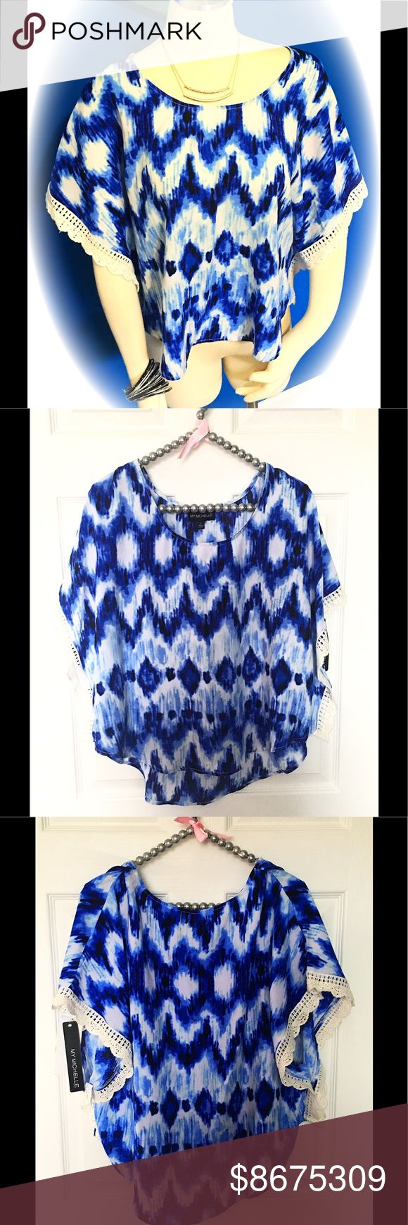 NWT ~ Waterfall Blues Top Size Large NWT ~ Waterfall Blues Top Size Large...A breathtaking top that radiates all the beautiful colors the sky has to offer. Short batwing cut sleeves embellished with dainty lace trim. This beauty would look amazing with white Capri style pants and a comfy pair of Keds. 🚫Trades🚫ⓅⓅ Make an offer 🌞 My Michelle Tops