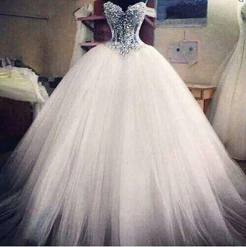 White Wedding dress! Sparkly top! | Wedding Stuff | Pinterest ...