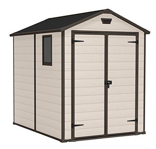 Keter Manor Large 6 x 8 ft Resin Outdoor Garden Storage Shed – Beige