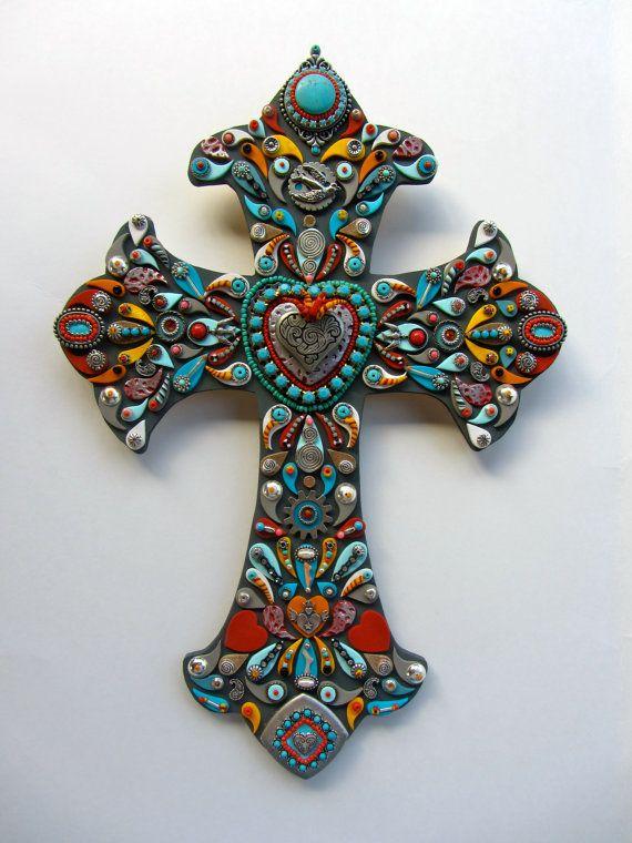 Cosecha mexicana South Western Cruz con sagrado corazón decorativa pared Cruz OOAK victoriano flor de lis por iluvPiC