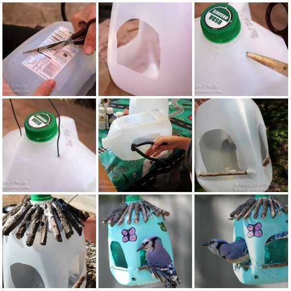 Un bidon transformé en mangeoire pour oiseaux