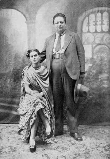 The photograph was taken on Frida Kahlo and Diego Rivera's wedding day, August 21, 1929. They would divorce in 1940, only to remarry a year later.
