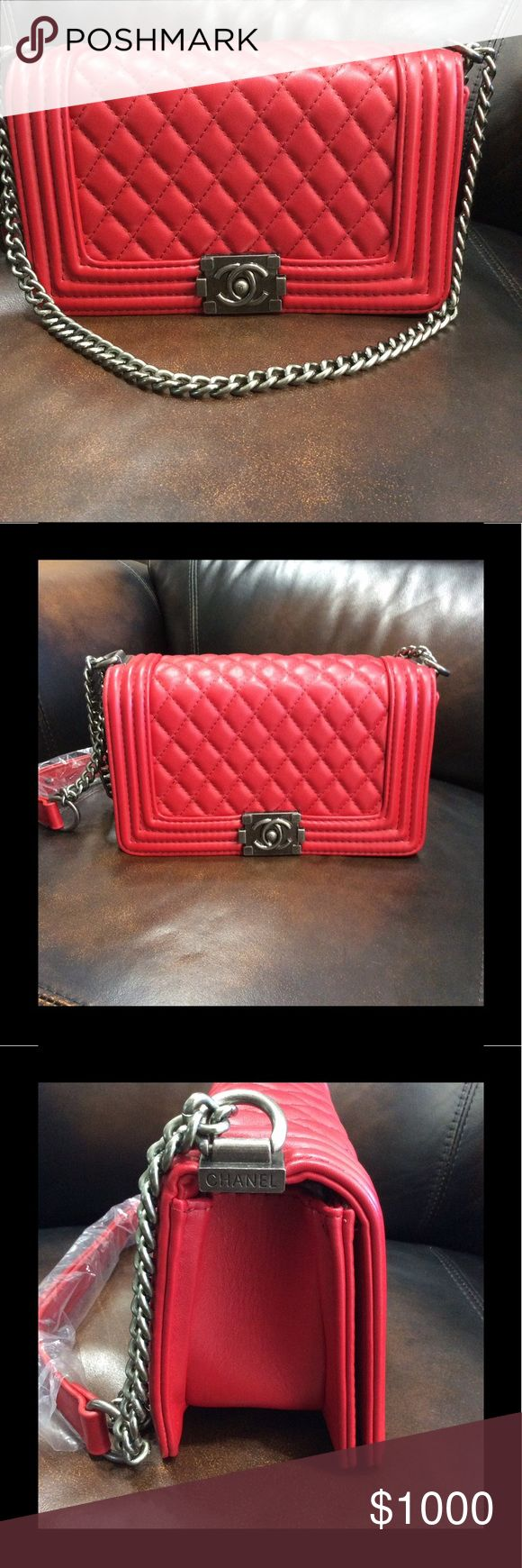 Red shoulder bag Brand new with tags. Red shoulder bag wig adjustable strap. Not Authentic.. red interior. Does not come with any accessories. Make an offer! CHANEL Bags Shoulder Bags