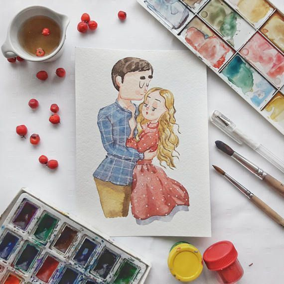 Anniversary gift - custom couples cartoon portrait illustration from professional illustrator Xenia Voronicheff:) ___________________________________________________ ☻ A couple cartoon portrait is an amazing gift. It is kind and cute. This is your chance to see yourself through the