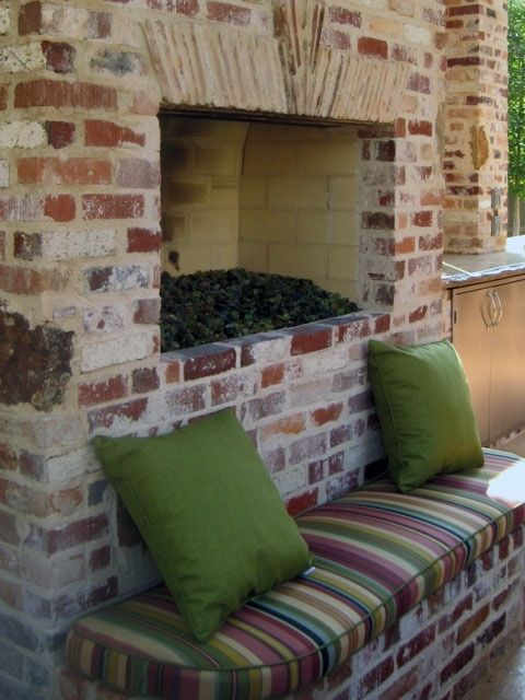 Brick Fireplace by ruby like the wall seating made of bricks at fireplace