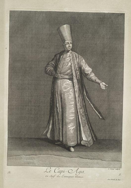 van mour-Le capi-aga, ou chef des eunuques blancs (1714)Jean-Baptiste van Mour'un (1671 – 1737) altında basılan Osmanlı gravürleri.
