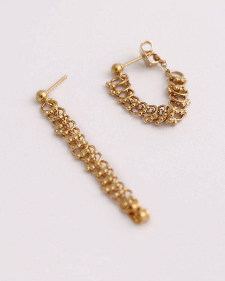 Gold Chain Earrings Gold Dangle Earrings Gold Dangle