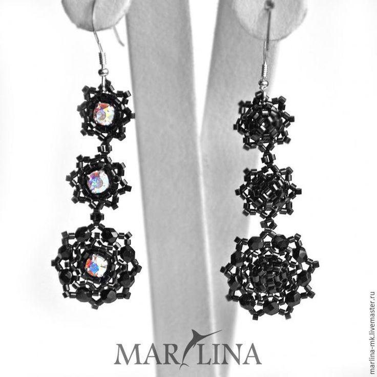 Плетем из бисера и кристаллов Сваровски лёгкие черные серьги-снежинки - Ярмарка Мастеров - ручная работа, handmade
