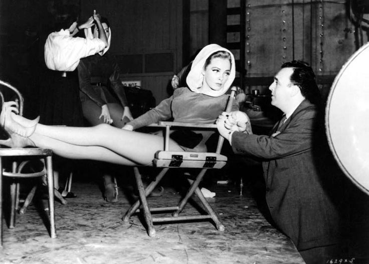 Kathryn Grayson with director George Sidney on the set of Kiss Me Kate, 1953.