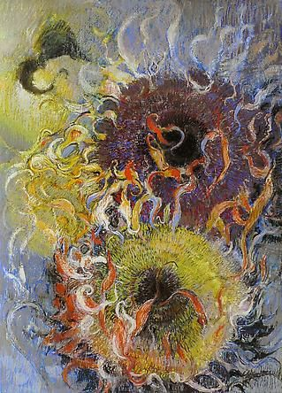 Jimmy Wright - Artists - DC Moore Gallery Sunflowers on Grey pastel