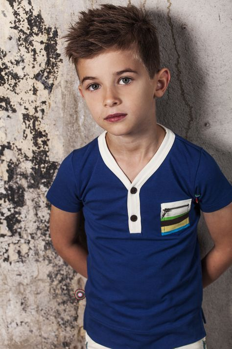 Love this little boys look! Adorable hair and shirt