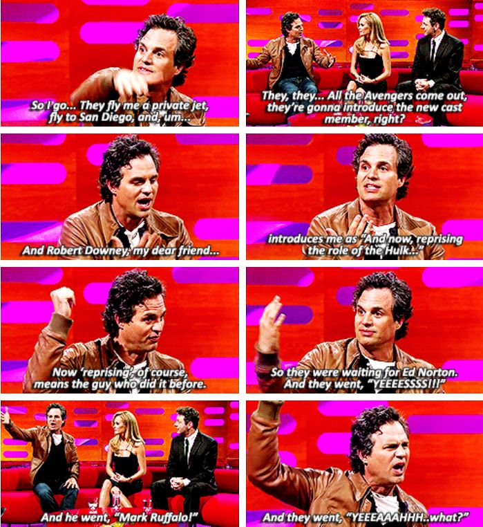 Mark Ruffalo, recalling how Robert Downey Jr. introduced him for the first time to the fans at San Diego Comic Con.