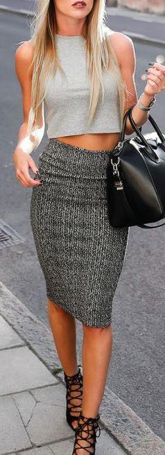 house shoes album crop top  pencil skirt  lace up heels