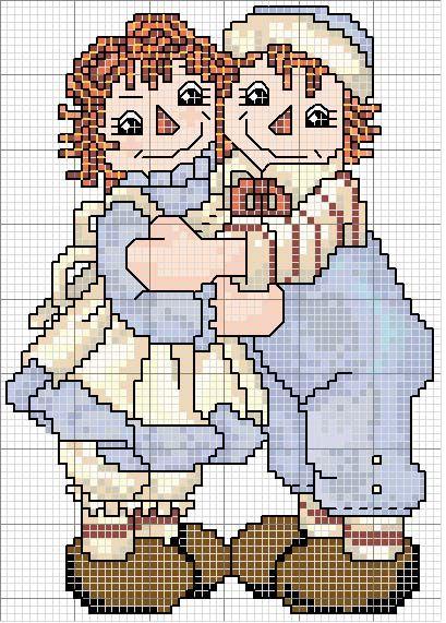Schema punto croce Coppietta