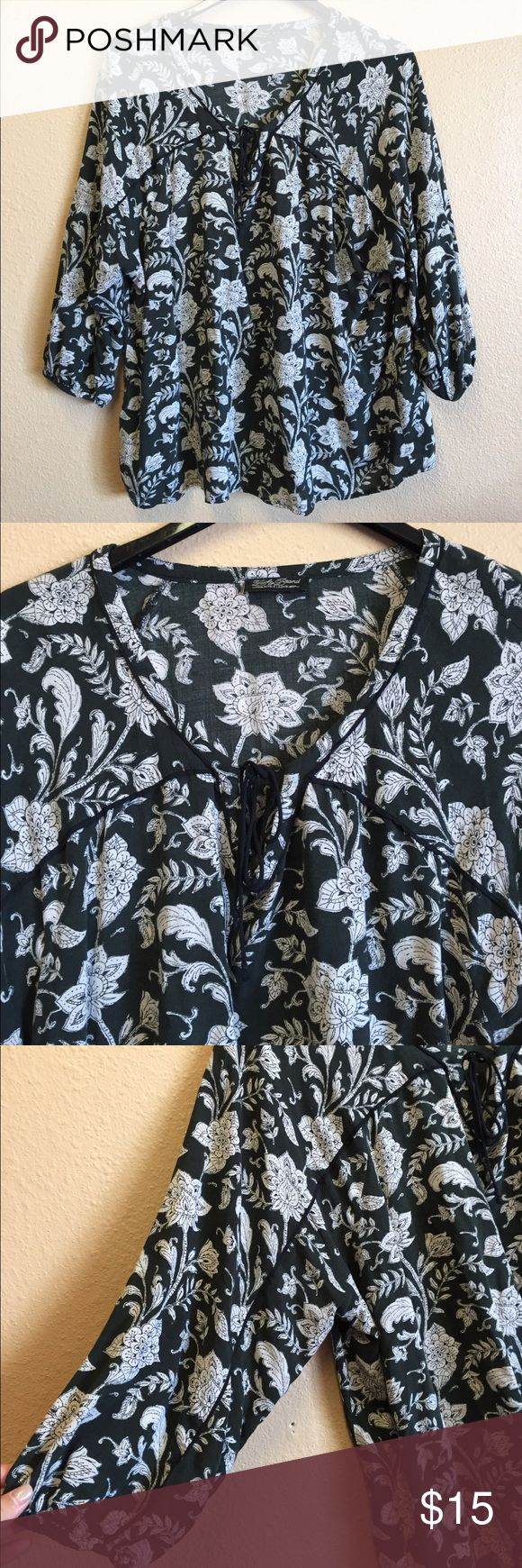 Lucky Brand Flowing Blouse Cute lucky brand flowing blouse. Tie on the chest, size medium, little wash and wear. Olive green color with white floral designs Lucky Brand Tops Blouses
