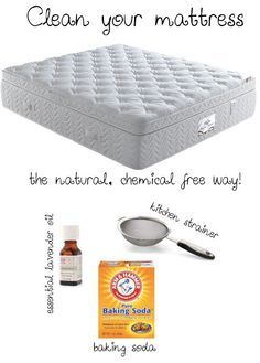Refresh your mattress: Add 1 cup baking soda, and about 5-6 drops of essential lavender oil to a Tupperware container. Pop the lid on, and shake well. Empty Tupperware into your strainer and sprinkle it all over your mattress. Let sit for up to an hour. Using your vacuum's hose, suck up all the baking soda.