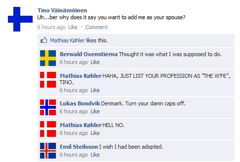 Finland; Sweden; Denmark; Norway; (Denmark again); Iceland; HA THE NORDICS