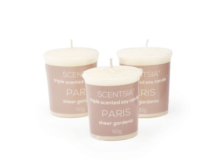 PARIS (Sheer Gardenia) - Triple scented soy votive candle by Scentsia // Succumb to French romance with this bountiful bouquet of gardenia with alluring hints of jasmine, lilac and hyacinth