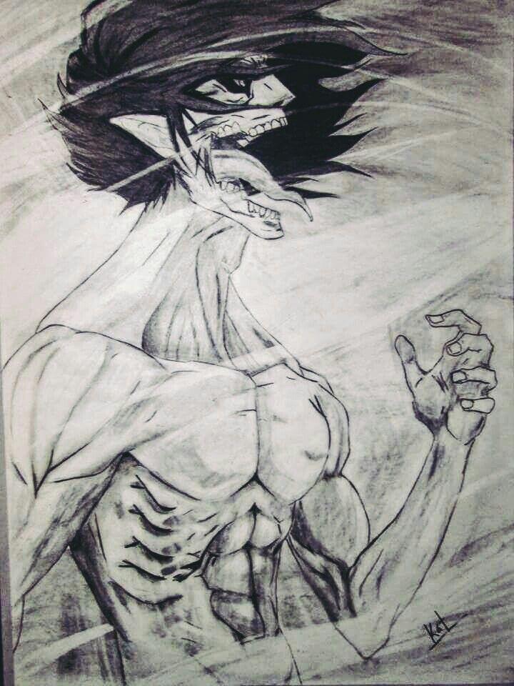 Eren Titan- Snk Dibujo a carboncillo. By Reila