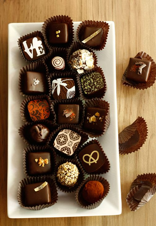 An assortment of Artisanal Chocolates by Marcie Blaine at Verde.
