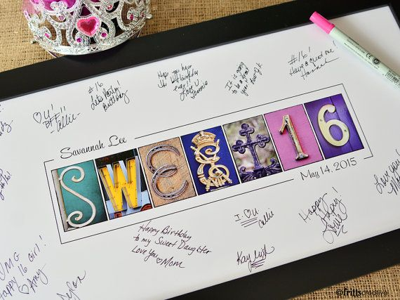 PERSONALIZED GUEST SIGNING PRINT FOR SWEET16 Be Creative with your Sweet Sixteen with this name print in alphabet photography! Customize with name