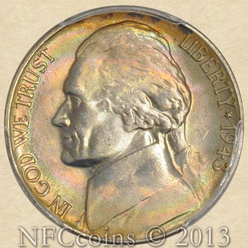 1943 s jefferson nickel ms67 pcgs fs with rainbow color. Black Bedroom Furniture Sets. Home Design Ideas