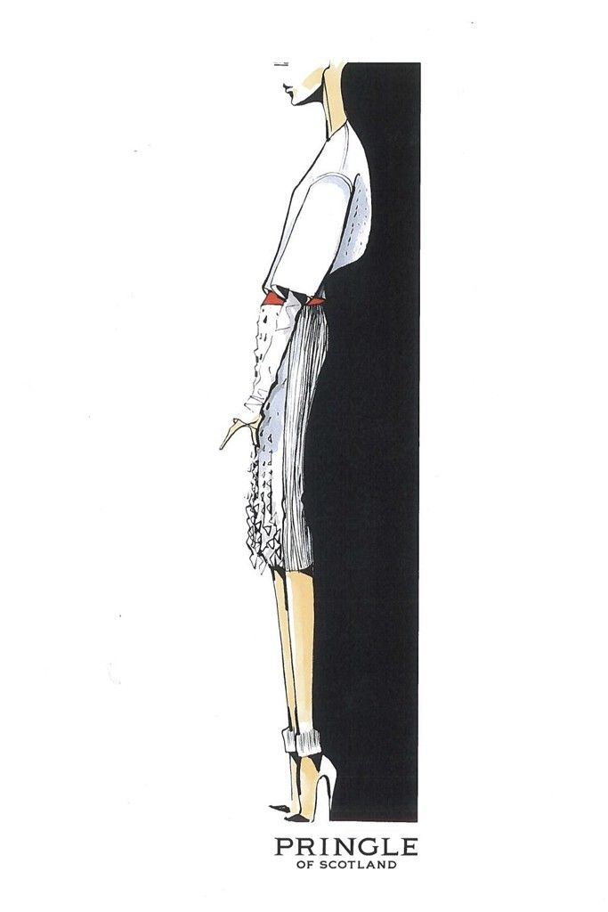 """Massimo Nicosia, Pringle of Scotland: """"Over the past seasons I have looked to bring modern techniques to the brand's heritage knitwear, and experiment with textile and structure."""". Pringle of Scotland Sketch"""