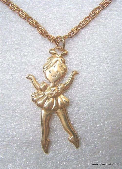 Avon Vintage 1977 Dancing Ballerina Pendant Necklace - I had one of these but sure it was in silver