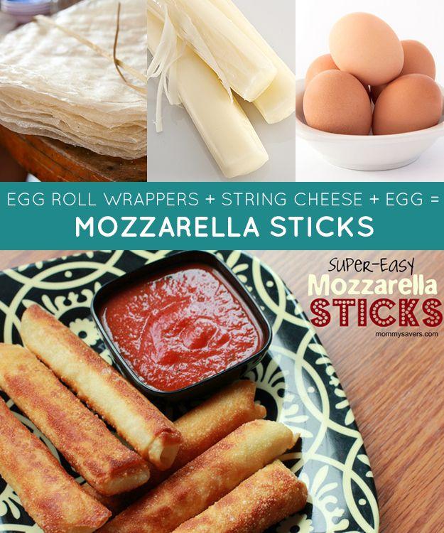 egg roll wrappers   string cheese   egg = mozzarella sticks | 33 Genius Three-Ingredient Recipes