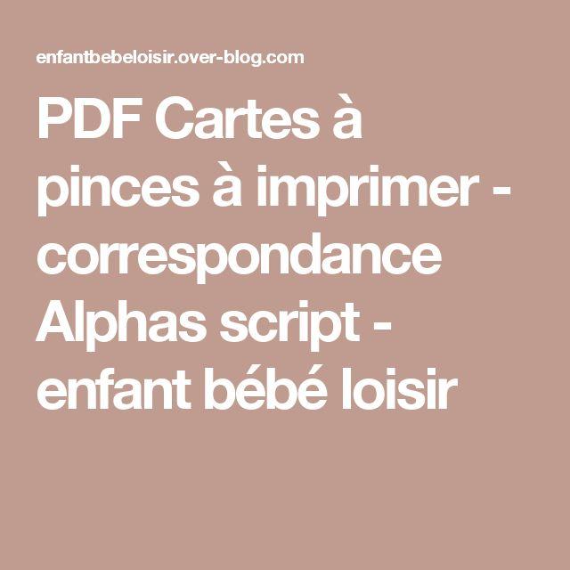 PDF Cartes à pinces à imprimer - correspondance Alphas script - enfant bébé loisir