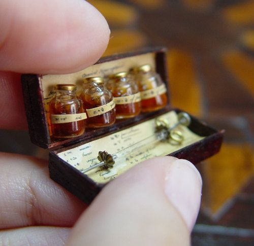 Miniature Apothecary Bottles And Syringe Specimen