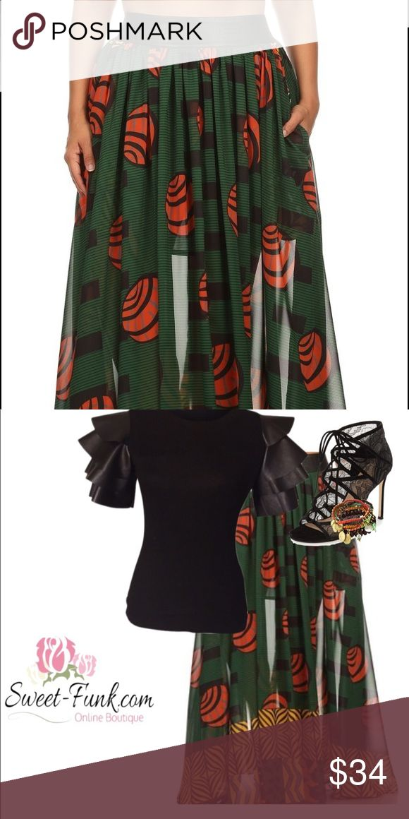 Tribal Maxi Skirt Tribal Maxi skirt in green black with red Skirts Maxi